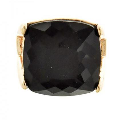 Black Cocktail Ring Big Statement Square Gold With Black Stone