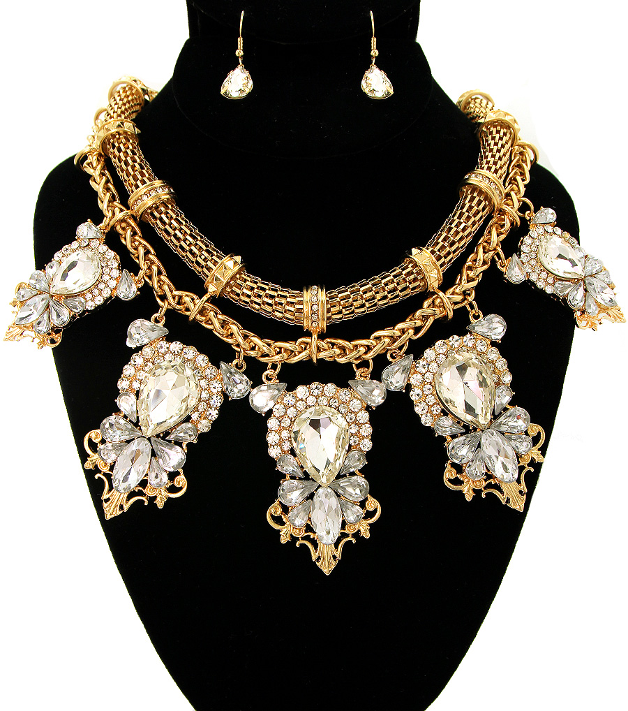 necklace look body crystal gold big l chest chain jewels pendant plastron neackless jewelry