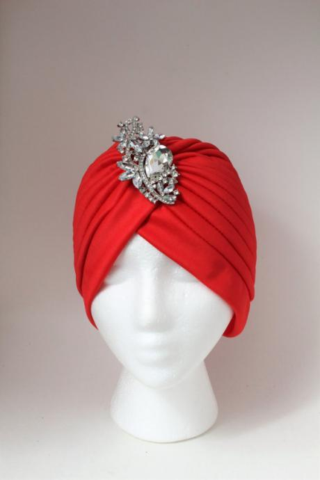 Red Turban, Turban For Woman, Evening Hat, Front Twist Turban with Brooch